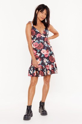 Nasty Gal Womens Flower You with Love Floral Tie Mini Dress - black - 6