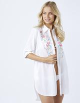 Accessorize Flower Embroidered Shirt Dress