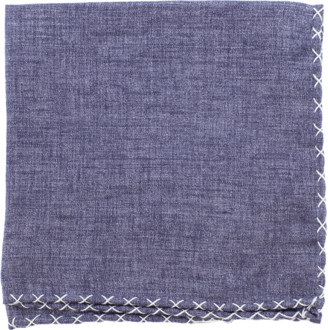 Eleventy Solid Pocket Square With Stitching