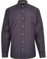 River Island MensNavy dark denim long sleeve shirt
