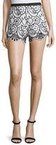 Alexis Pia Floral Lace Shorts, Black/White