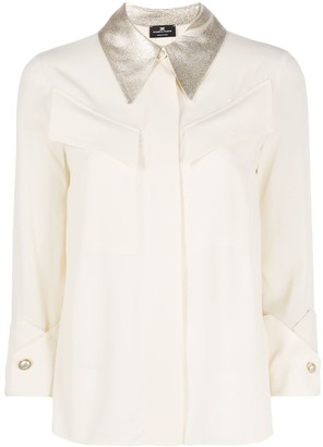 Elisabetta Franchi 3/4 Sleeves Contrasting-Collar Shirt