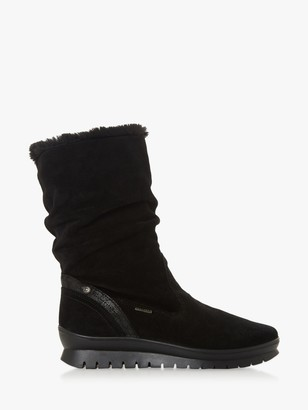 Dune Rafikii Water Resistant Calf Boots, Black Suede