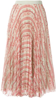 Giambattista Valli Pleated Floral Print Midi Skirt