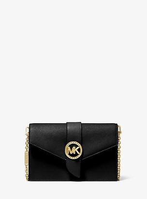 MICHAEL Michael Kors MK Medium Leather Convertible Crossbody Bag - Black - Michael Kors