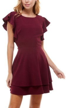 Crystal Doll Juniors' Ruffle-Sleeve Fit & Flare Dress