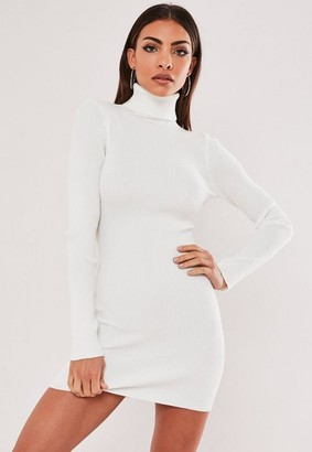 Missguided White Turtle Neck Knit Mini Dress