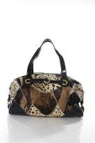 Francesco Biasia Brown Calf Hair Olga One Satchel Handbag Size Large NEW