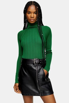Topshop Womens Green Ribbed Roll Neck Knitted Top - Green