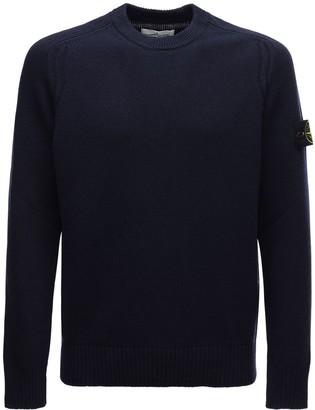Stone Island Logo Badge Rib Wool Blend Knit Sweater