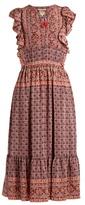 Sea Selene Camellia Border-print silk-habotai dress