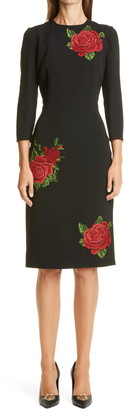 Dolce & Gabbana Rose Embroidered Crepe Cady Sheath Dress