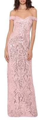 Betsy & Adam Sequined Off-The-Shoulder Column Gown