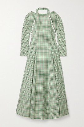Rosie Assoulin Hold My Bolero Convertible Cutout Checked Cotton-blend Maxi Dress - Green