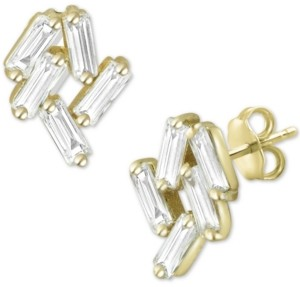 Argentovivo Cubic Zirconia Baguette Cluster Stud Earrings in Gold-Plated Sterling Silver