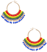 Miguel Ases Beaded Fan Rainbow Statement Earrings