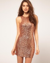Mini Dress With Cut Out Racer Sequin Detail