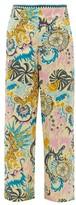 Le Sirenuse Le Sirenuse, Positano - Stephan Psycho-print Cotton Wide-leg Trousers - Womens - Yellow Print