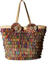 Betsey Johnson Tiki Time Colored Raffia Tote Shoulder Bag