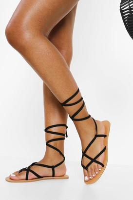 boohoo Strappy Ankle Tie Sandal