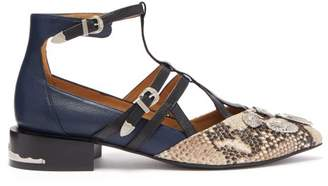 Toga Studded Suede And Leather Flats - Womens - White Multi