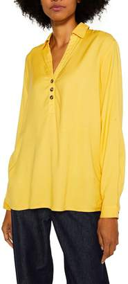 Esprit Womens Long Sleeved V-Neck Blouse With Button Details - Yellow