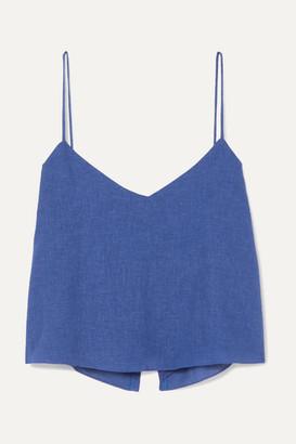 Vix Candice Cropped Linen-blend Voile Camisole - Royal blue