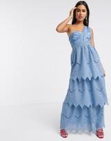 Asos Design DESIGN one shoulder tiered lace maxi dress in blue