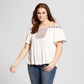 Almost Famous Women's Plus Size Smocked Off the Shoulder Top Off-White