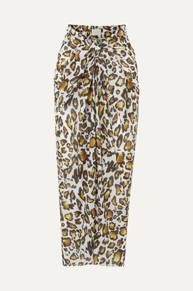 Marios Schwab On The Island By Psili Leopard-print Cotton-voile Pareo - Leopard print