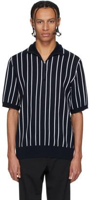 HUGO BOSS Navy Striped Half-Zipped Polo