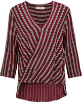 Bailey 44 Wrap-effect striped crepe top