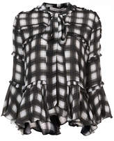 Preen by Thornton Bregazzi checked pussy bow blouse