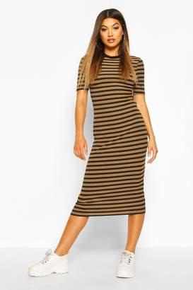 boohoo Stripe Rib Short Sleeve Bodycon Midi Dress