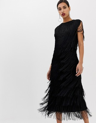 ASOS EDITION fringe column midi dress