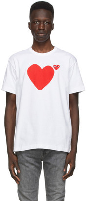 Comme des Garcons White Front and Back Heart T-Shirt