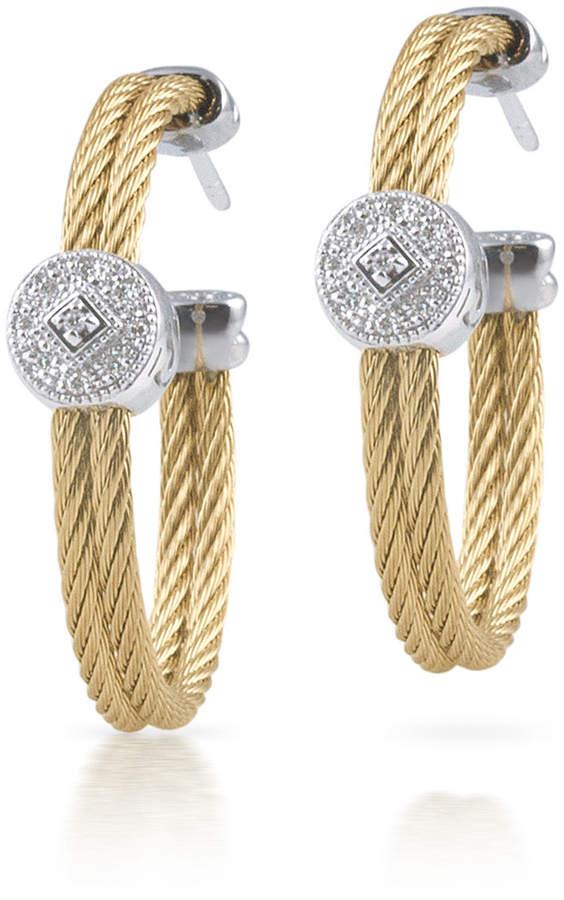 Alor Cable Hoop Earrings w/ Diamond Pave