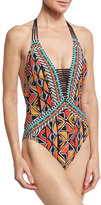 Nanette Lepore Mozambique Goddess Beaded Halter One-Piece Swimsuit, Multicolor
