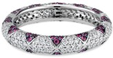 Ri Noor Lotus Eternity Band With Ruby Petals & Pave Diamonds