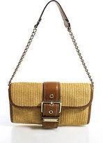 MICHAEL Michael Kors Brown Beige Leather Woven Straw Shoulder Handbag