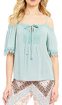 Takara Lace Trim Tie-Neck Off-The-Shoulder Top