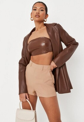 Missguided Camel Co Ord Tailored Shorts