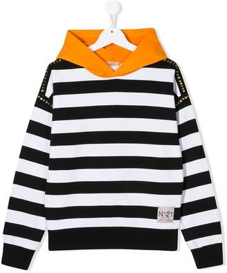 No.21 striped cotton hoodie