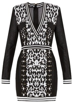 Balmain Monochrome V-neck knitted dress