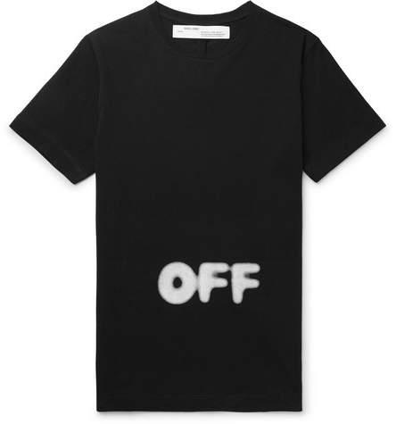 Off-White Off White KidMoGraph Slim-Fit Logo-Print Cotton-Jersey T-Shirt - Men - Black