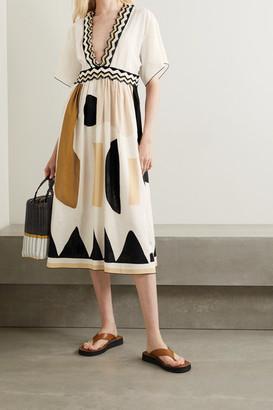 Eres Avana Embellished Printed Cotton And Linen-blend Midi Dress - White