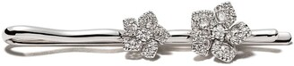 David Morris 18kt white gold diamond Miss Daisy double flower hairpin