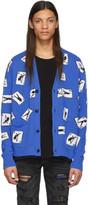 Amiri Blue Cashmere Cards Cardigan