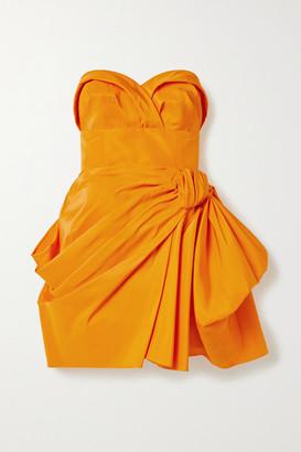 Carolina Herrera Strapless Gathered Silk-faille Mini Dress - Orange
