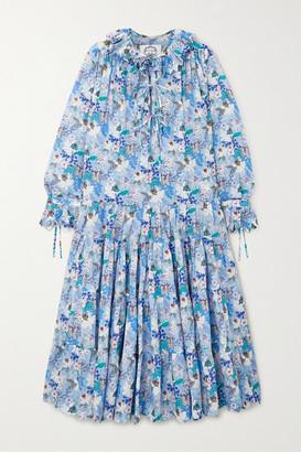 Evi Grintela Peony Tiered Floral-print Cotton-voile Midi Dress - Blue